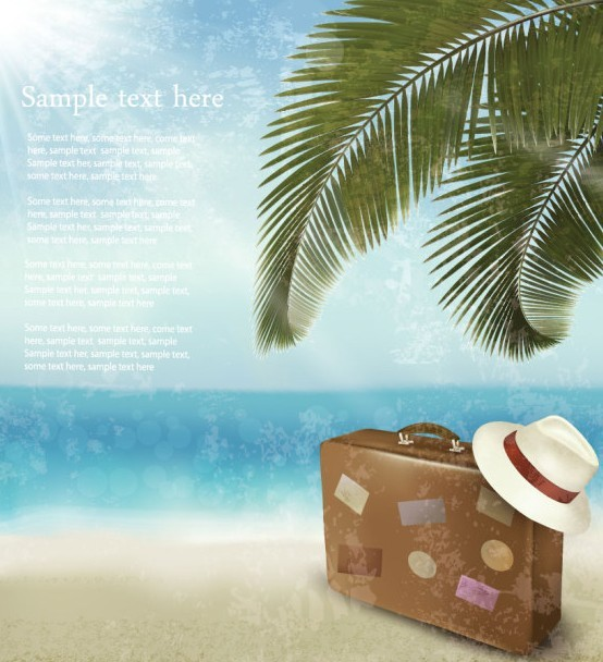 Vector Beach Scenery Elements For Summer Holiday 03