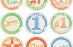 Vintage Circular Number Stickers Vector