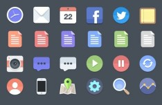 24 Flat Style Web Icons PSD