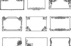 Simple Sketch Floral Vector Frame 01