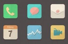 Flat Paper Folding-Like App Icons PSD
