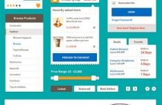 Flat Style Ecommerce Web UI Kit PSD