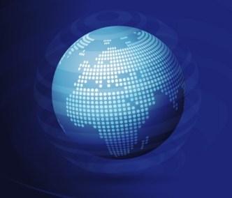 3D Blue Globe Background Design Vector 01