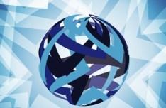3D Blue Globe Background Design Vector 04