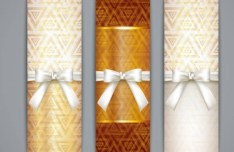 Fresh and Clean Vector Banners with Ribbon Bows 02