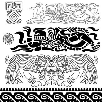 Vector Black and White Ancient Egypt Patterns 02
