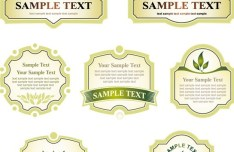 Vector Clean Green Labels and Ribbons Collection 02