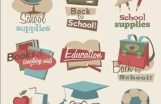 Vector Vintage School Supplies Icons