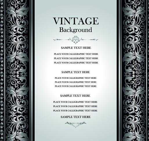 Vintage Dark Silver Floral Pattern Background Vector 02
