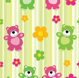 Cartoon Winnie and Flower Background Vector