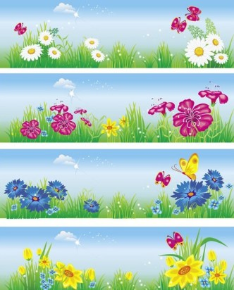 Simple Horizontal Summer Holiday Banners Vector 02