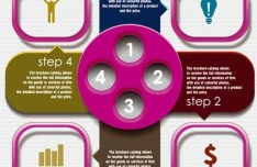Fashion Colorful Labels with Numbers For Infographic 02