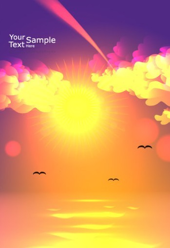 Vector Blank Brochure Cover Template with Sunrise 05