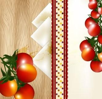Delicious Tomato Text Background Vector 01