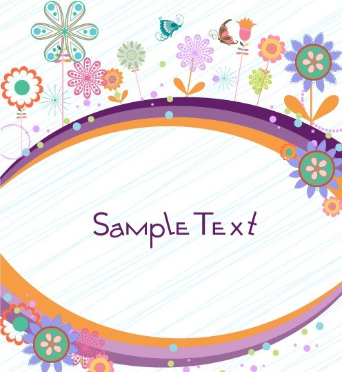 Cartoon Hand Painted Floral Background Vector 02