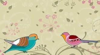 Cartoon Spring Bird and Flowers Background 05