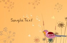 Cartoon Spring Bird and Flowers Background 07