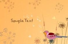 Cartoon Spring Bird and Flowers Background 07
