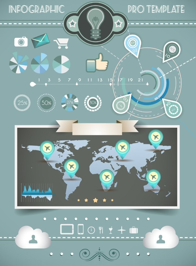 Simple Blue Infographic Template Vector
