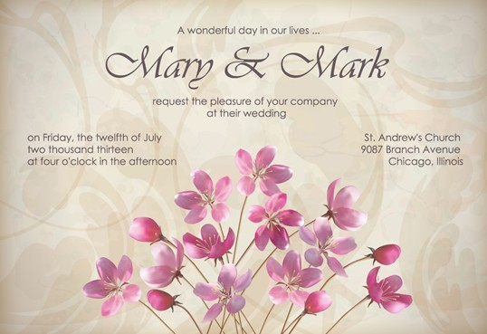 Free Vector Elegant Pink Flowers With Parchment Background