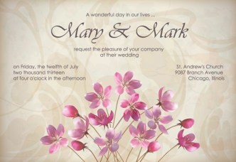 Vector Elegant Pink Flowers with Parchment Background 03