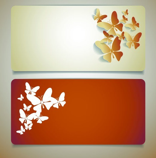 Vector Sleek Banners with Butterfly Background 01