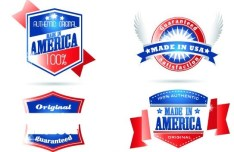Red and Blue Made In USA Labels Vector