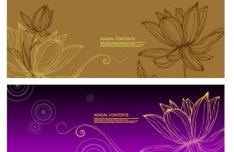 Set Of Hand-Painted Line Drawing Flower Background Vector