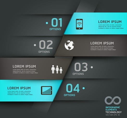 Vector Technology Infographic Step Options Elements 02