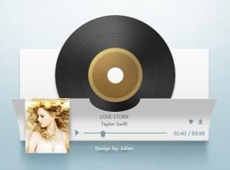 Paper Like Music Player Interface PSD