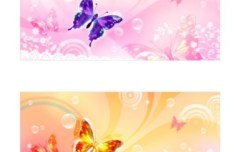 Set Of Vector Butterfly Backgrounds & Banners
