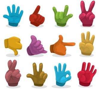 Vector Hands and Gestures Design Elements 01