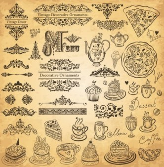 Vector Vintage Hand-Drawn Decorative Ornaments For Cafe & Restaurant 05