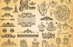 Vector Vintage Hand-Drawn Decorative Ornaments For Cafe & Restaurant 05