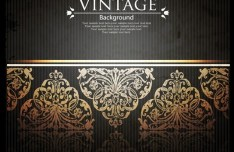 Vintage Golden Floral Pattern Vector Background 04
