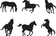 Black Galloping Horses Vector Silhouettes