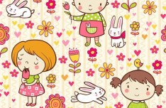 Lovely Cartoon Girls and Flowers Vector Illustration