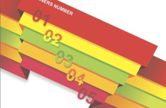Colored Paper Banners with Numbers Vector 02