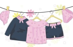 Cute Children's Clothing On hangers Vector 03