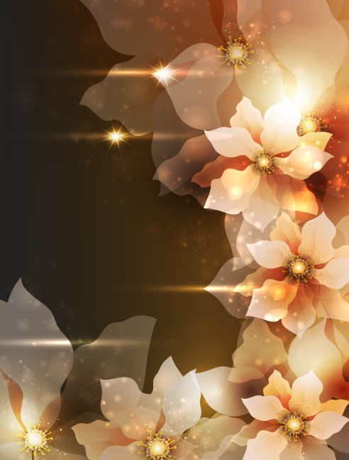 Elegant Card Background With Sparkling Flowers 04