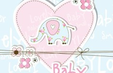 Lovely Baby Shower Elements Vector Illustration 02