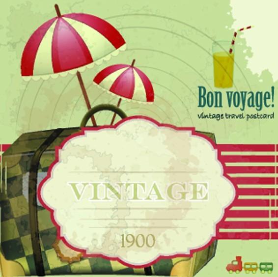 Vector Vintage Travel Postcard Elements For Summer Holiday 03