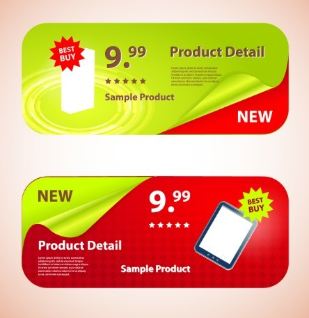 Creative Rounded Product Promotion Banners Vector 01