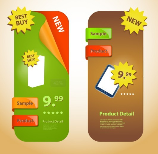 Creative Rounded Product Promotion Banners Vector 03