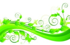 Fresh Green Floral Background Vector 03