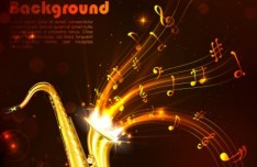 Golden Music Background with Musical Notes and Saxophone Vector