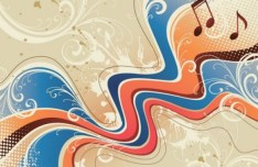 Vintage Abstract Music Background with Floral Patterns Vector 01