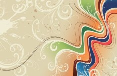 Vintage Abstract Music Background with Floral Patterns Vector 04