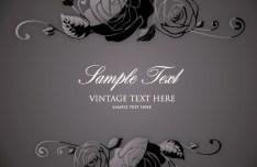 Vintage Dark Flower Pattern Background Vector 03