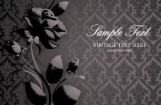 Vintage Dark Flower Pattern Background Vector 04